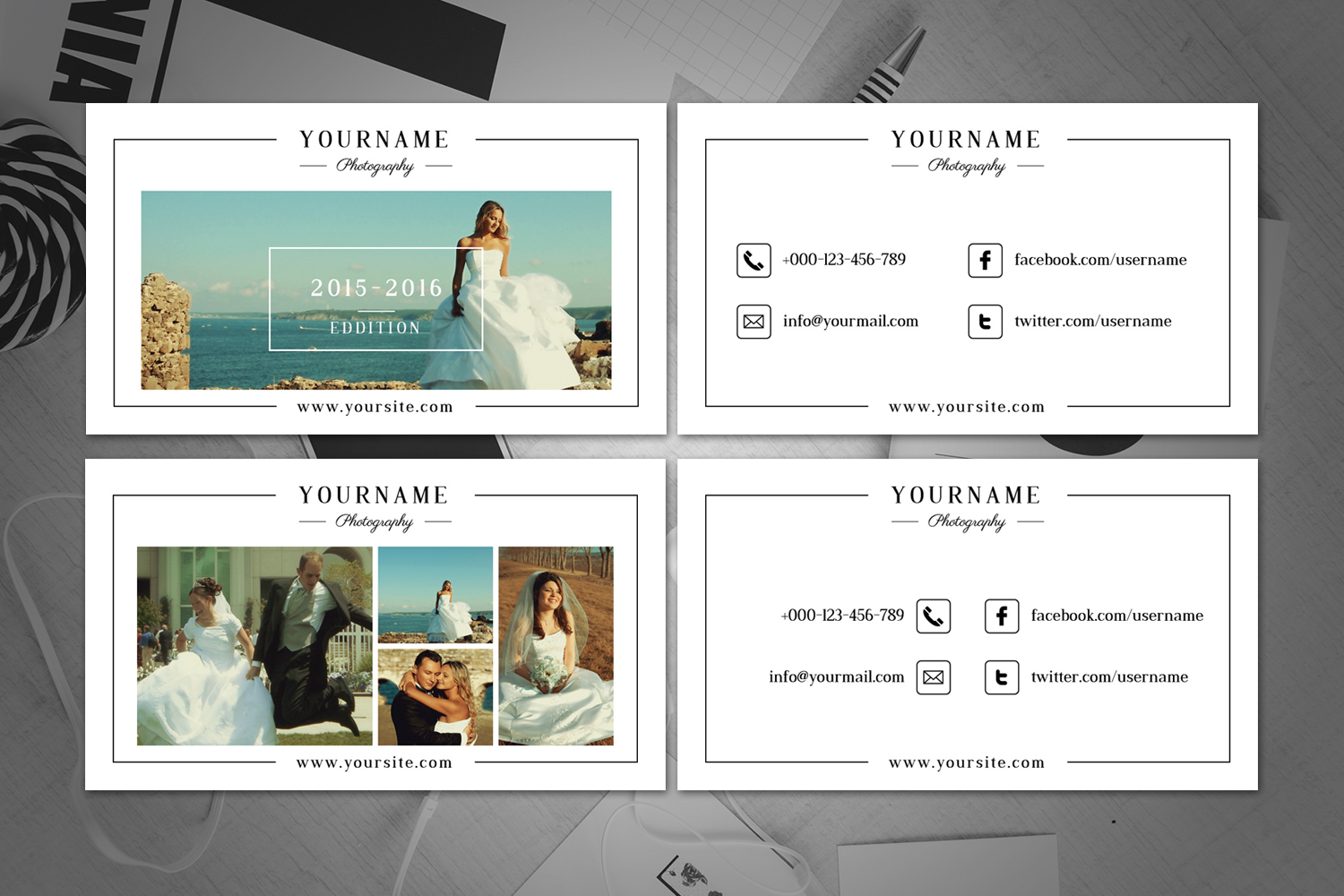 Minimal Wedding Photography Business Card  example image 1
