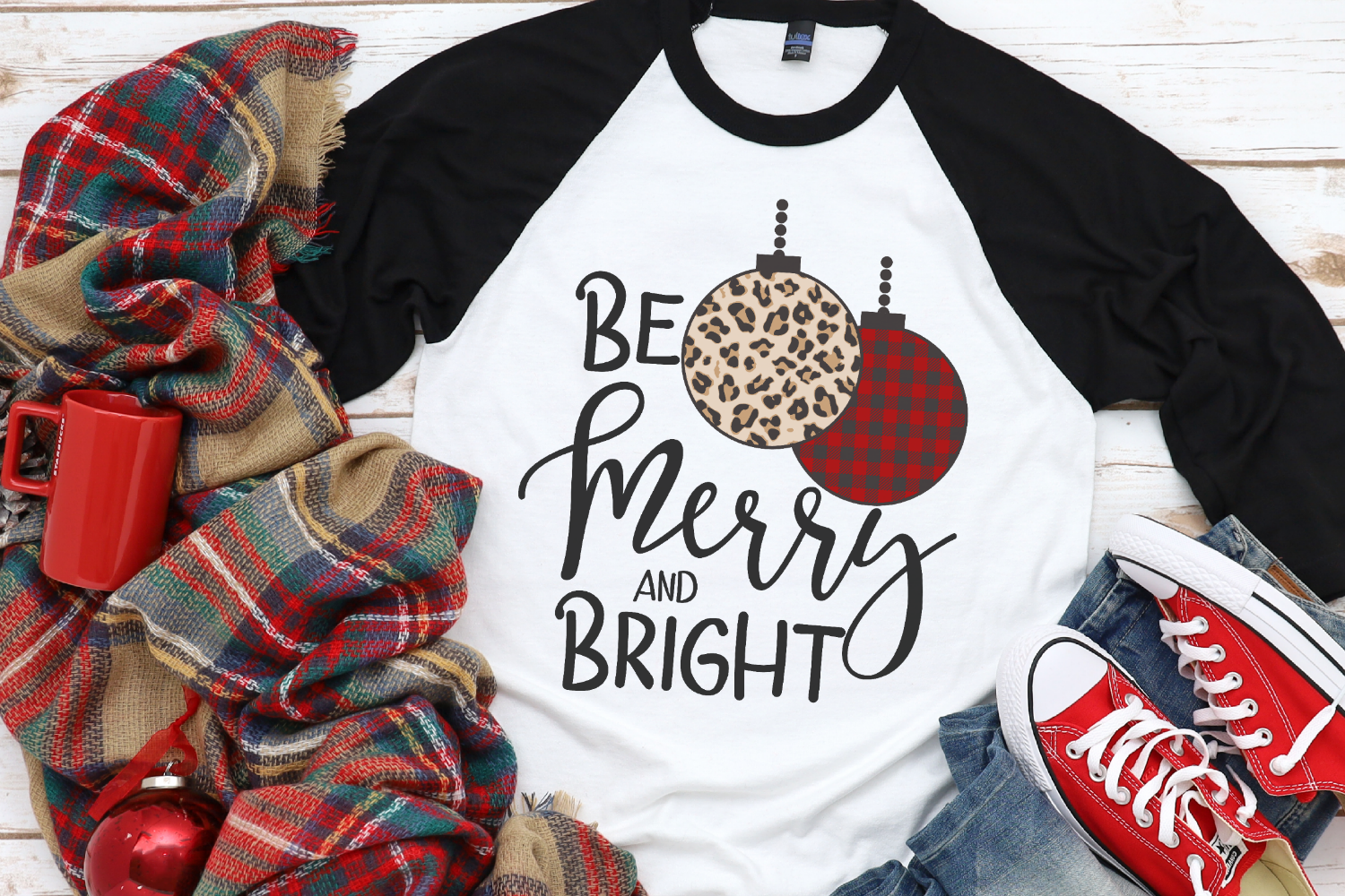 Christmas - Leopard - Buffalo Plaid - Be Merry & Bright SVG example image 1