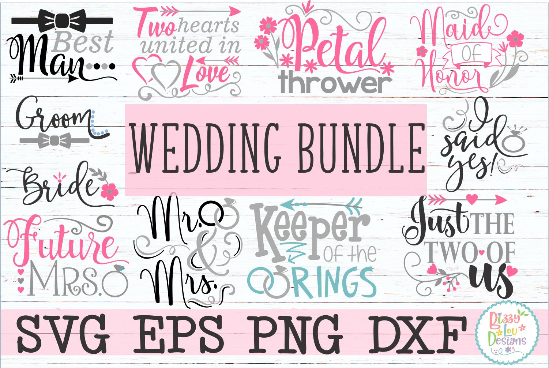 Wedding engagement Bundle SVG DXF EPS PNG cutting files example image 1