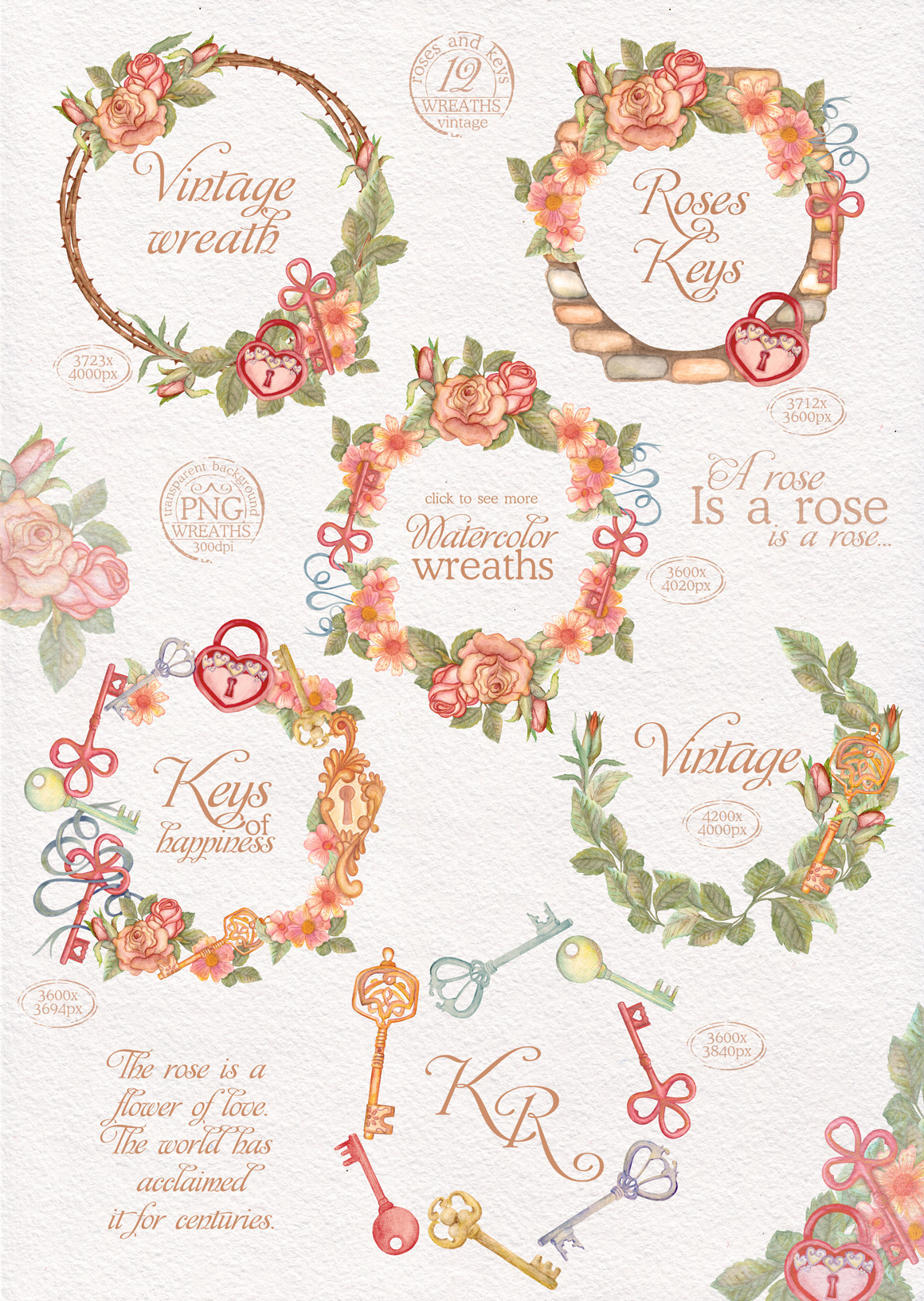 Watercolor wreaths set. Roses & keys example image 2