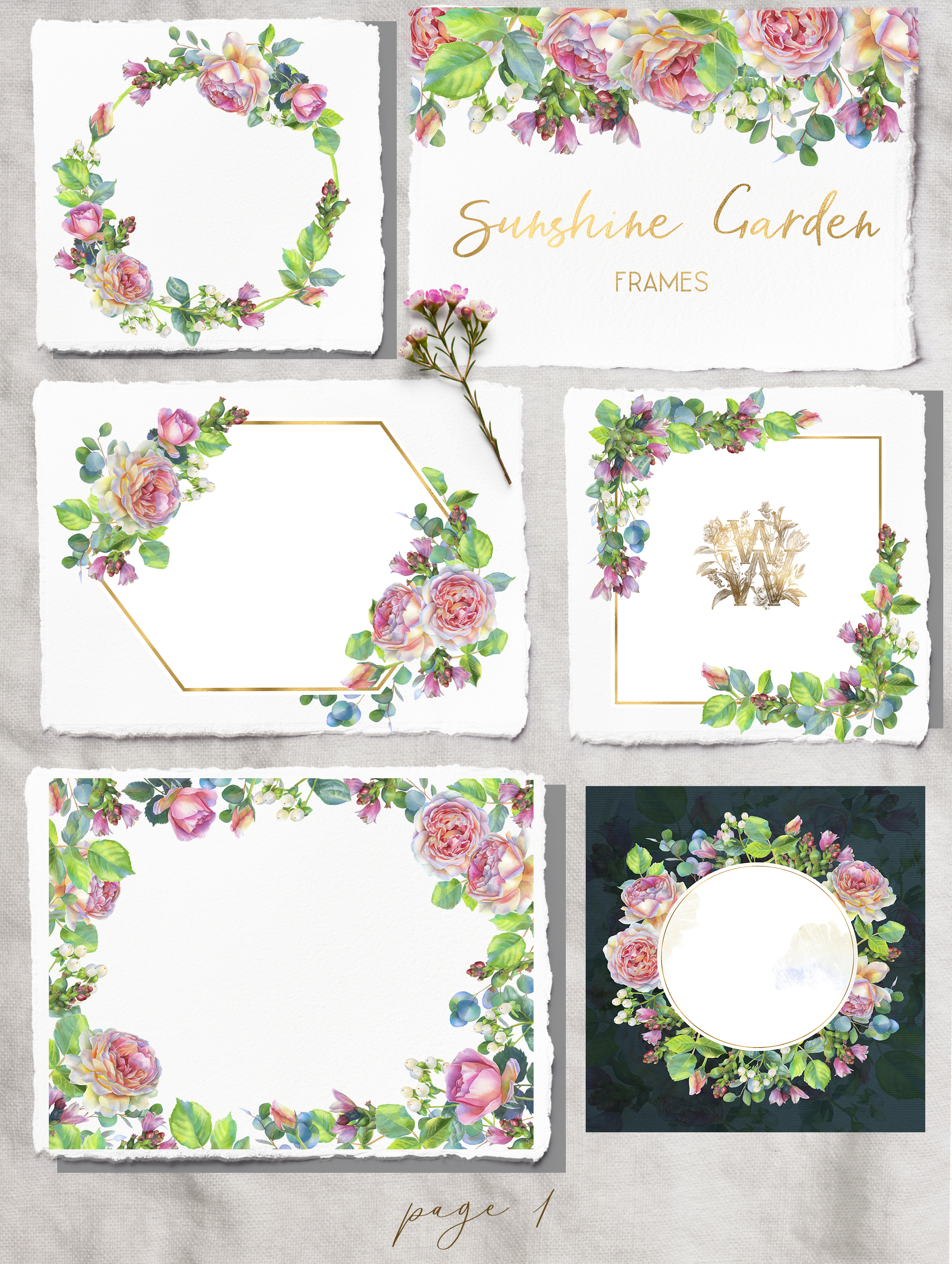 Pink rose watercolor wedding clip art, floral frame clipart example image 2
