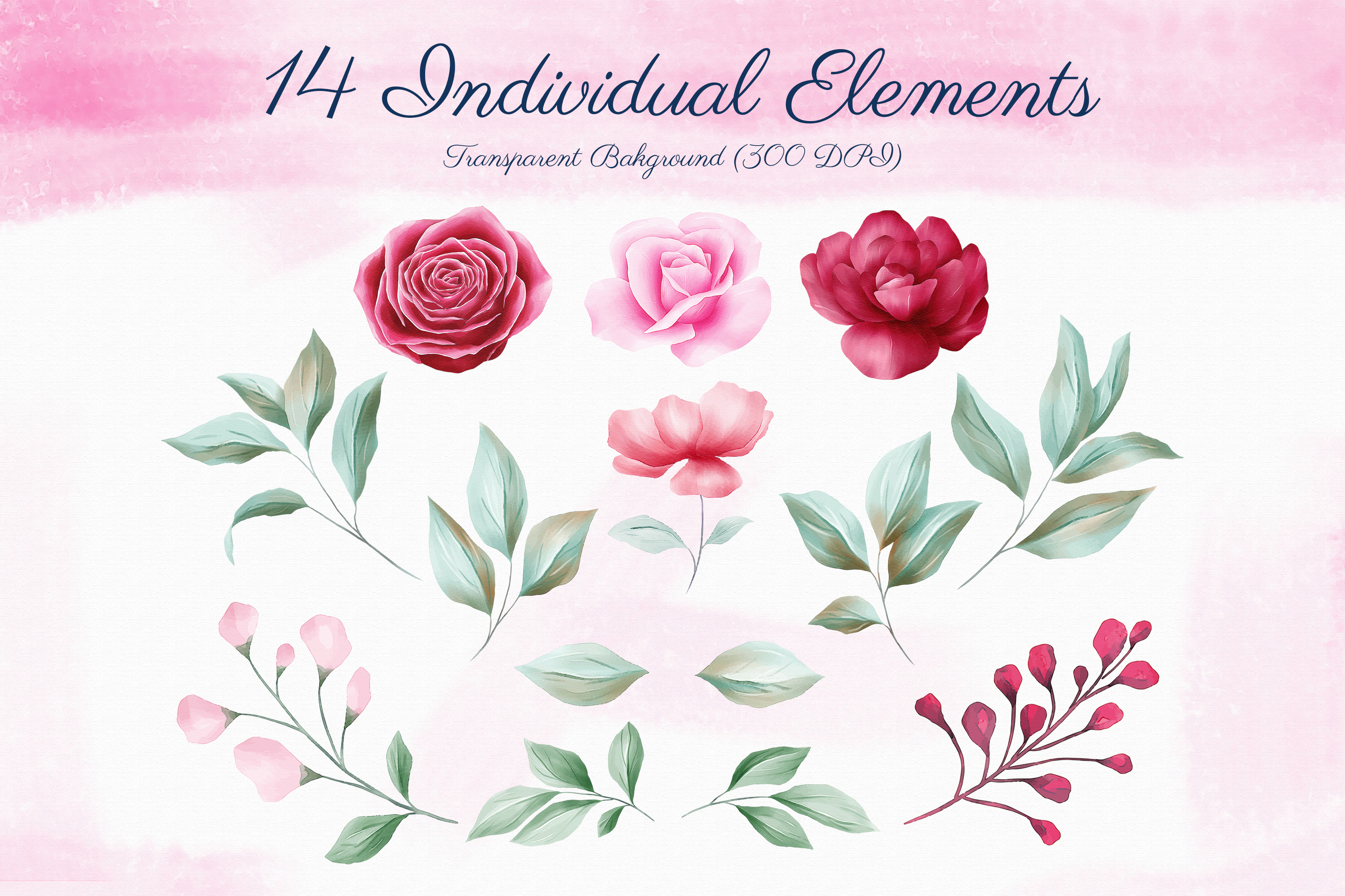Romantic Watercolor Flowers Collection Bundle example image 7