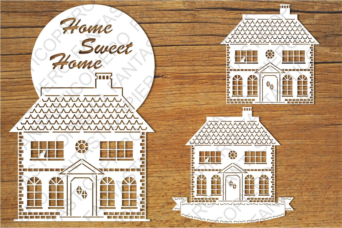 Home Sweet Home 3 SVG files for Silhouette and Cricut. example image 1