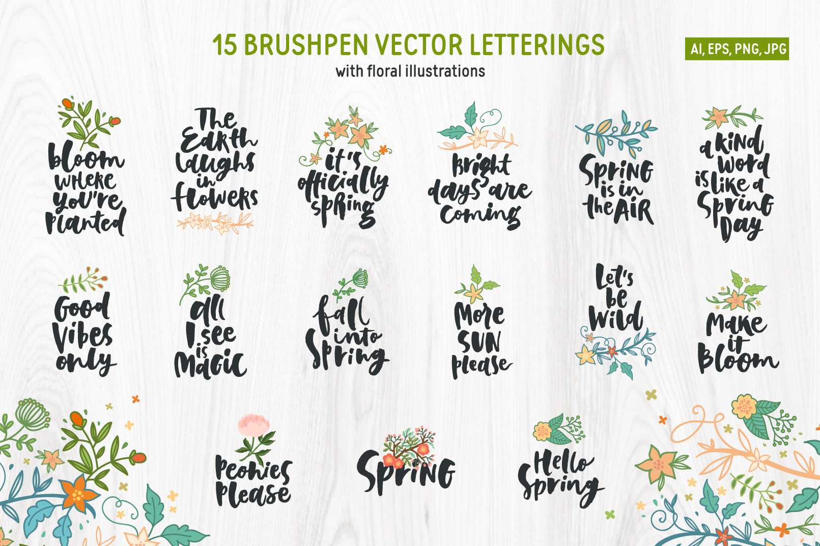 Spring! Letterings+graphics+patterns example image 3