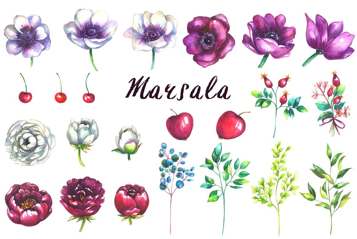 Marsala wedding clipart example image 2