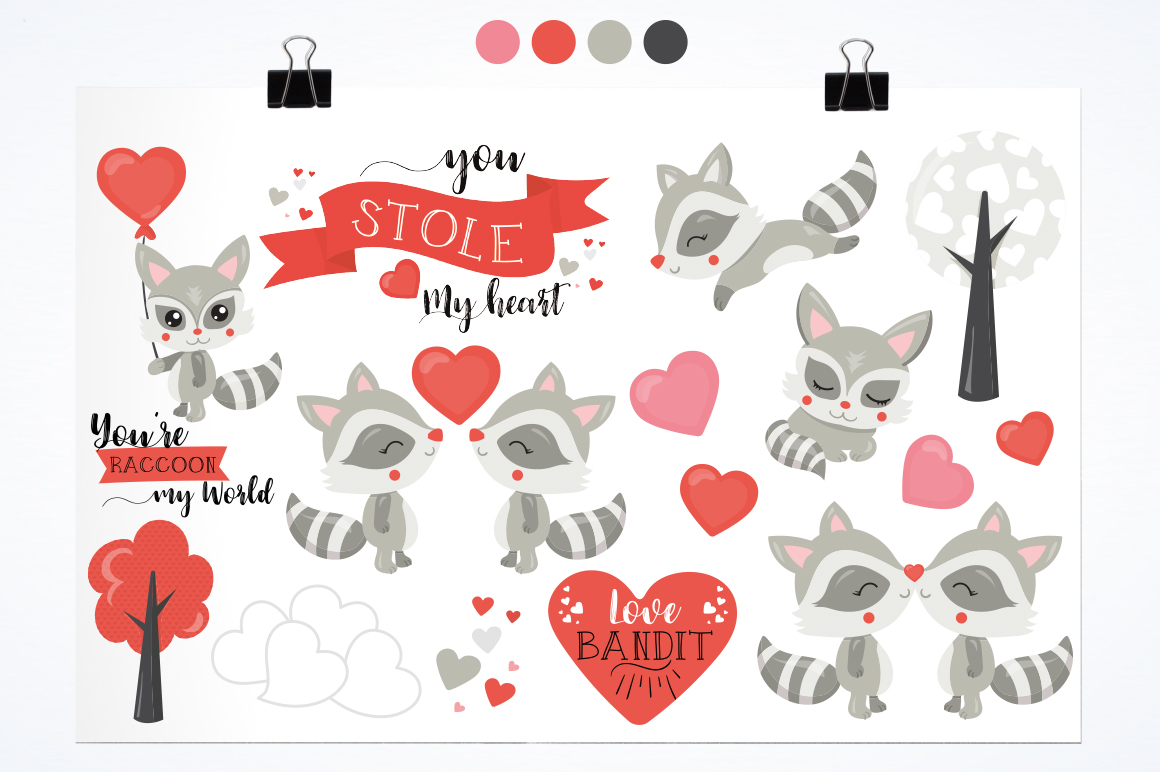 Racoon Love Bandit graphic and illustrations example image 3