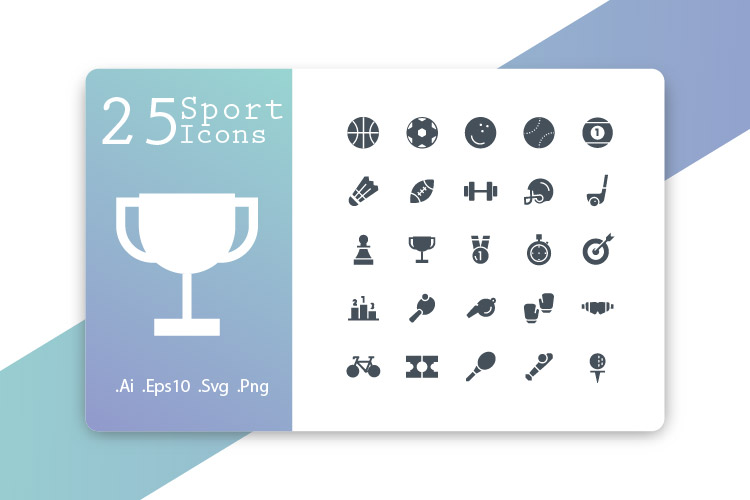 25 Sport Icons Glyph example image 1