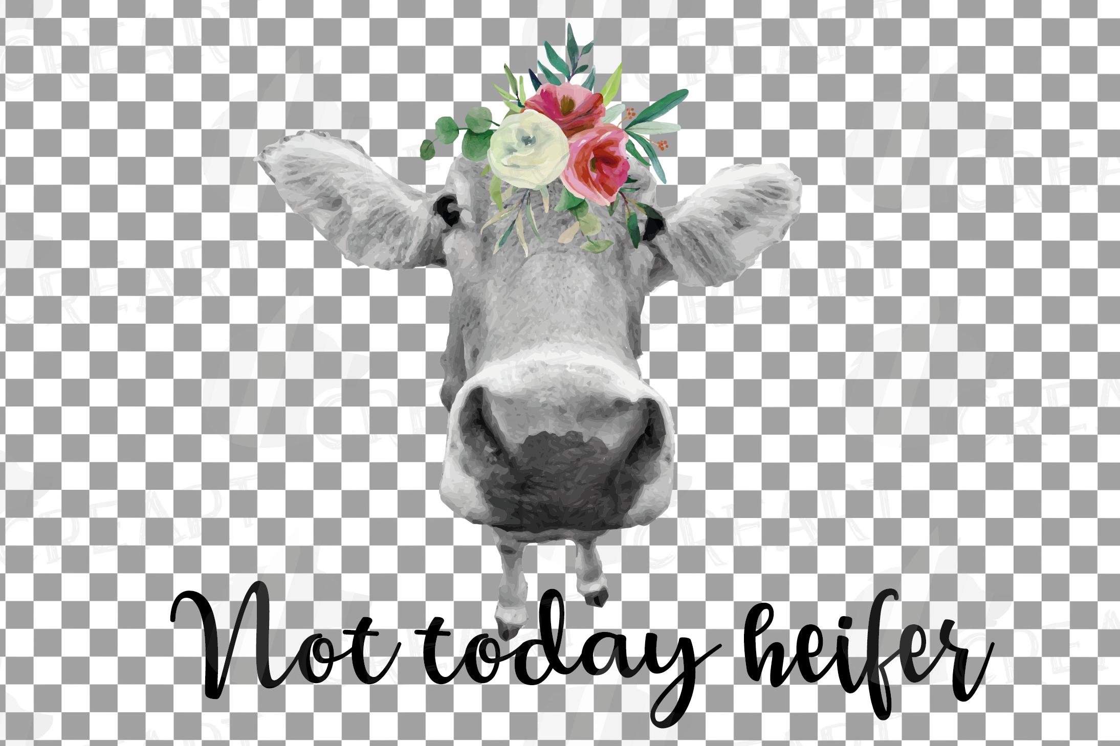Not today Heifer printable shirt, mug, card floral cow png example image 15
