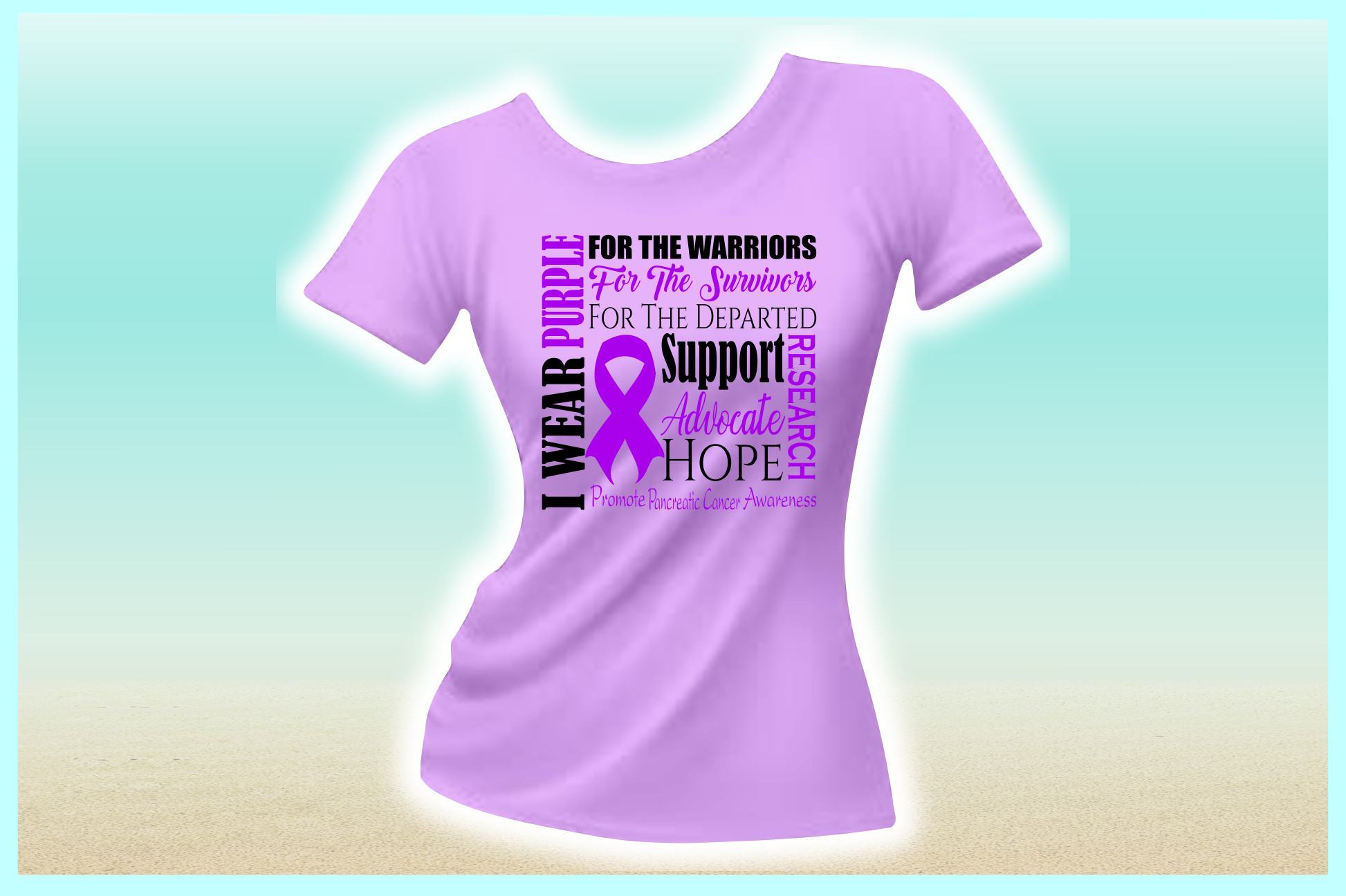 I WEAR PURPLE Pancreatic Cancer SVG DXF EPS PNG PDF example image 2