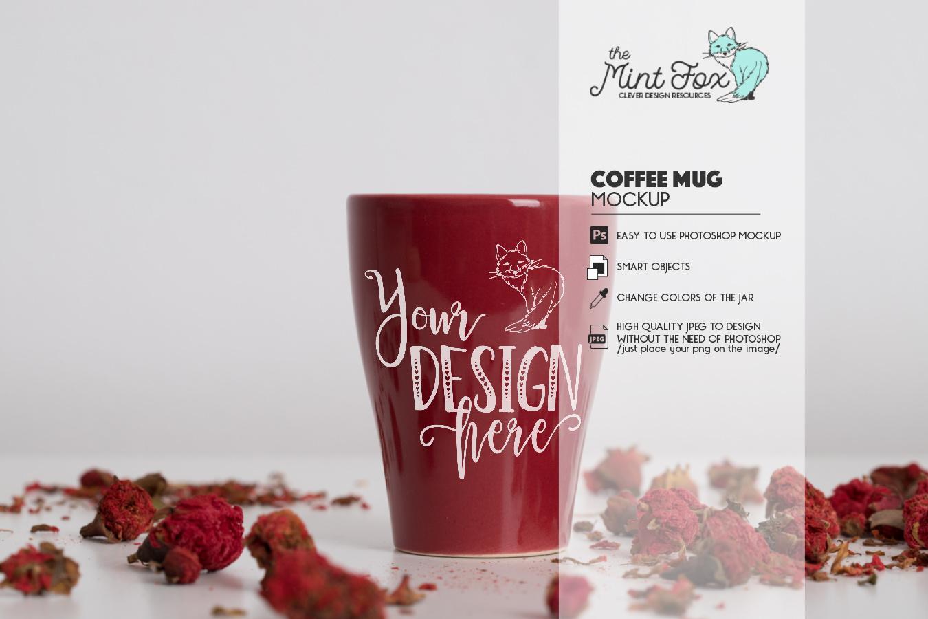 Coffee Cup Mockup | PSD & JPG Coffee Mug with Flowers example image 2