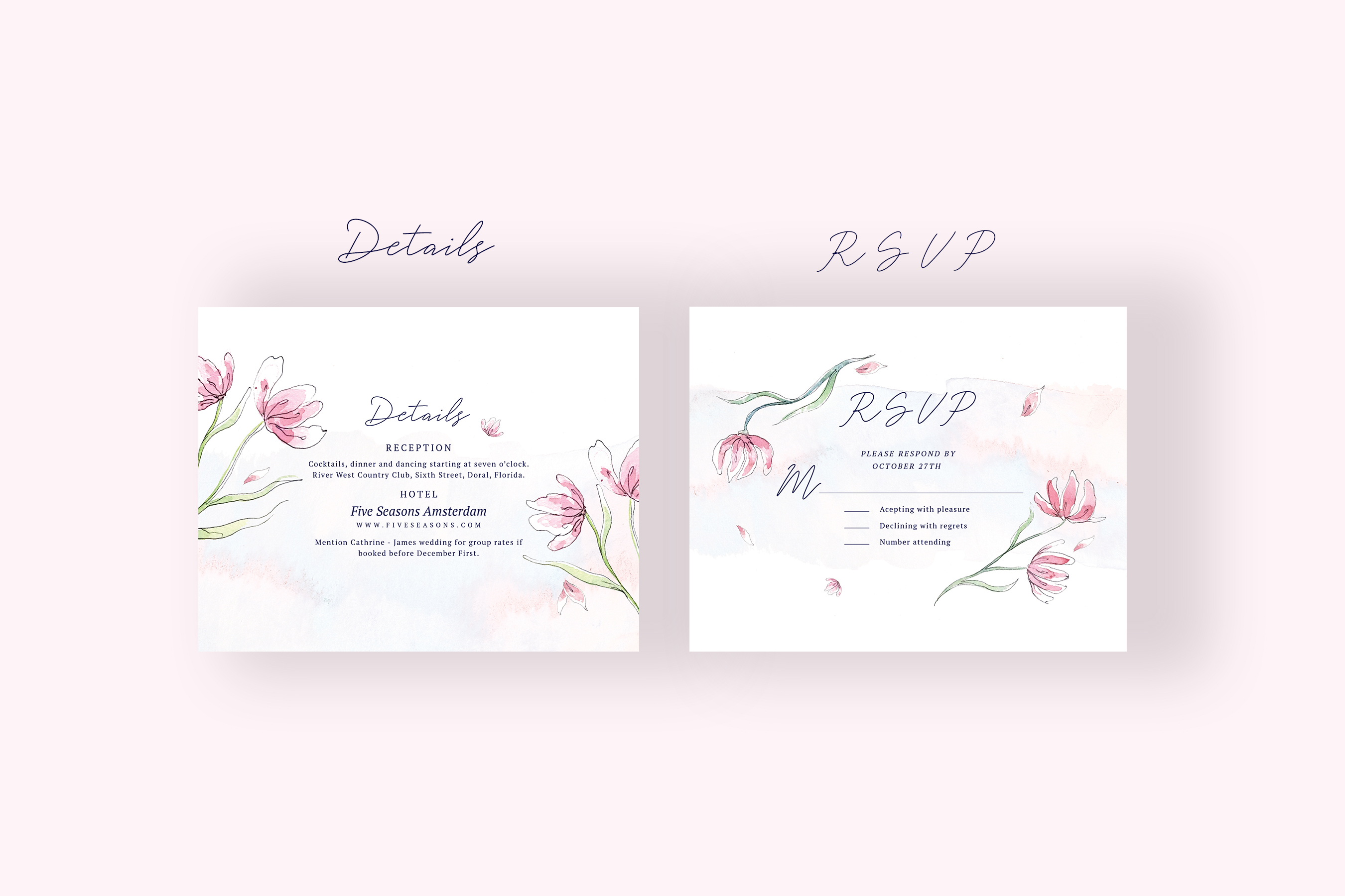Pink Floral Wedding Invitation Suite example image 4
