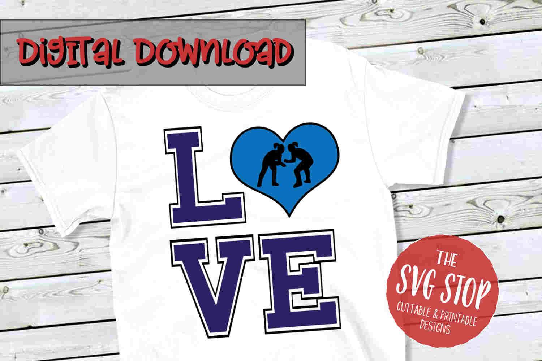 Love Wrestling Girls 2-SVG, PNG, DXF example image 1