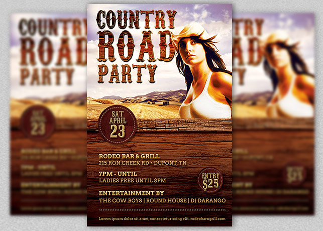 Country Road Party Flyer Template example image 1