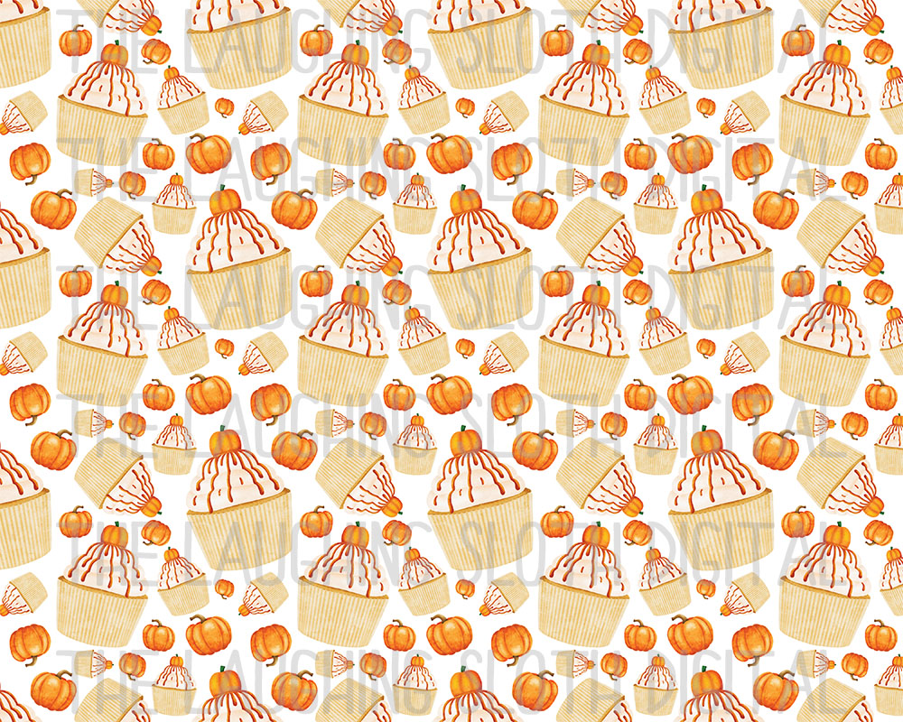 Watercolor Pumpkin Spice Seamless Digital Papers Set 1 example image 3