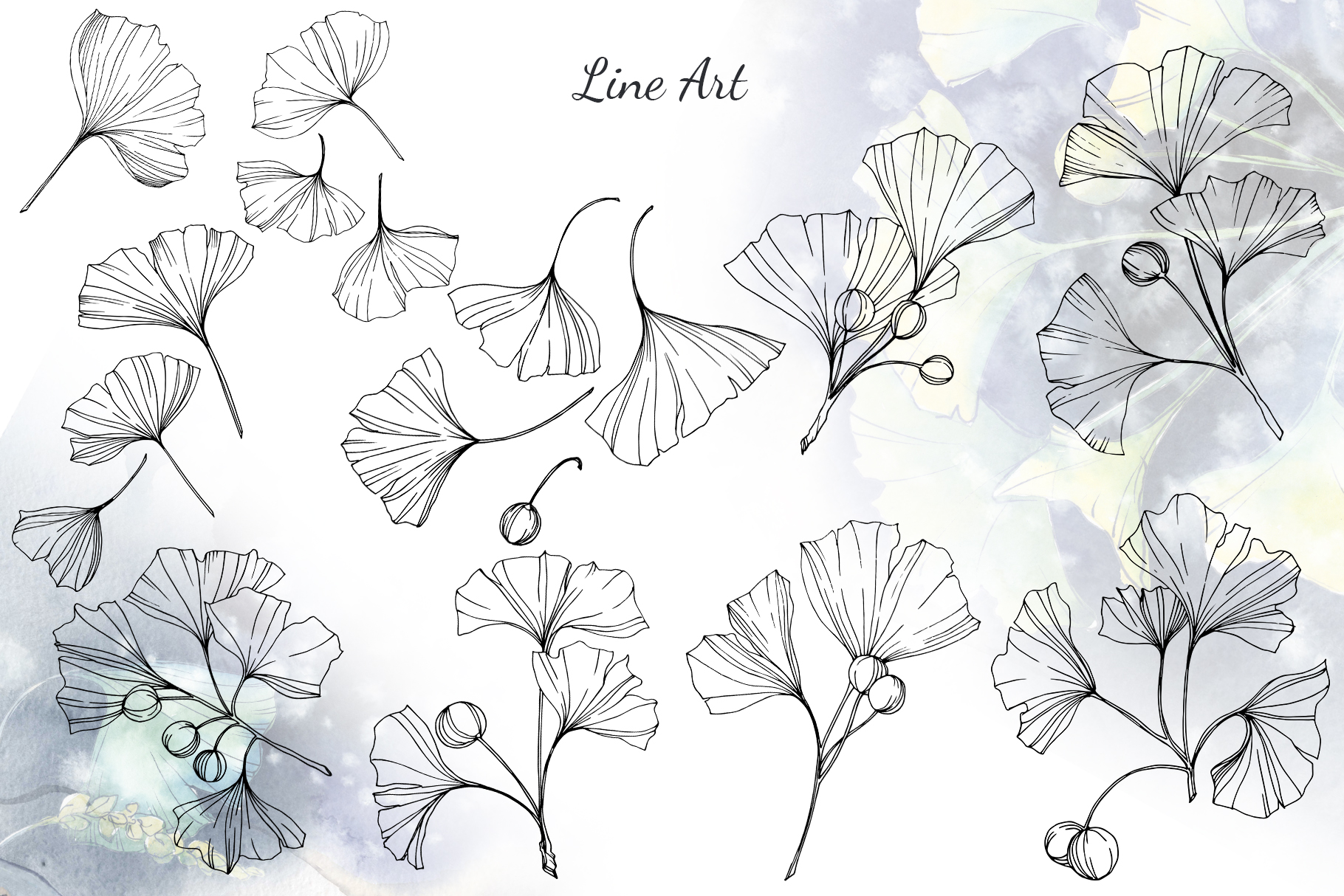 Green Ginkgo leaves Watercolor and Vector clipart png example image 5