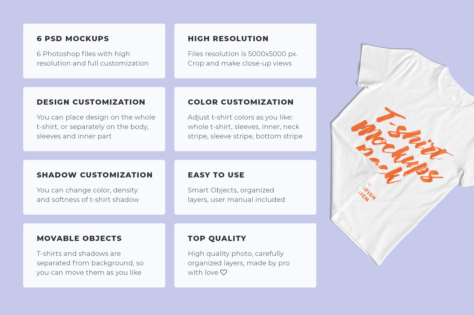 Customizable T-Shirt Mockups Pack example image 2