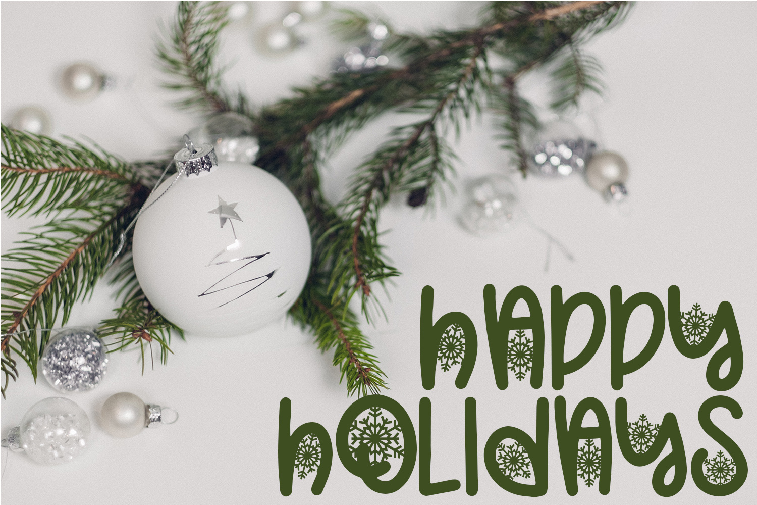 Christmas Snowflakes Font example image 3
