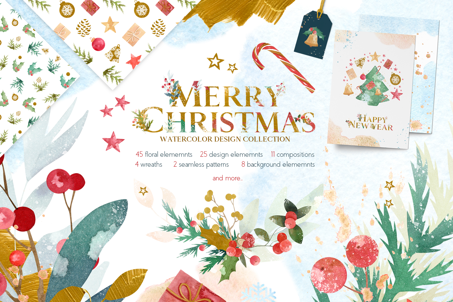 Merry Christmas Watercolor Design Set example image 1