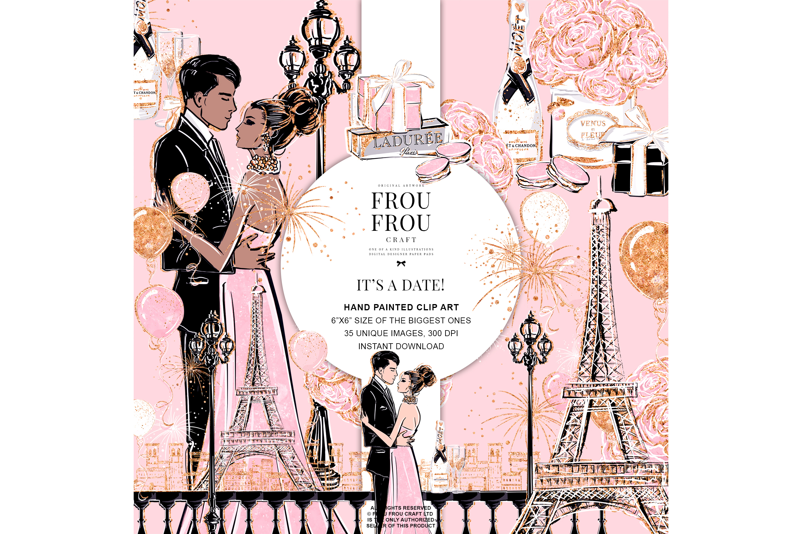 Valentine Anniversary Paris Romantic Love Clip Art example image 1