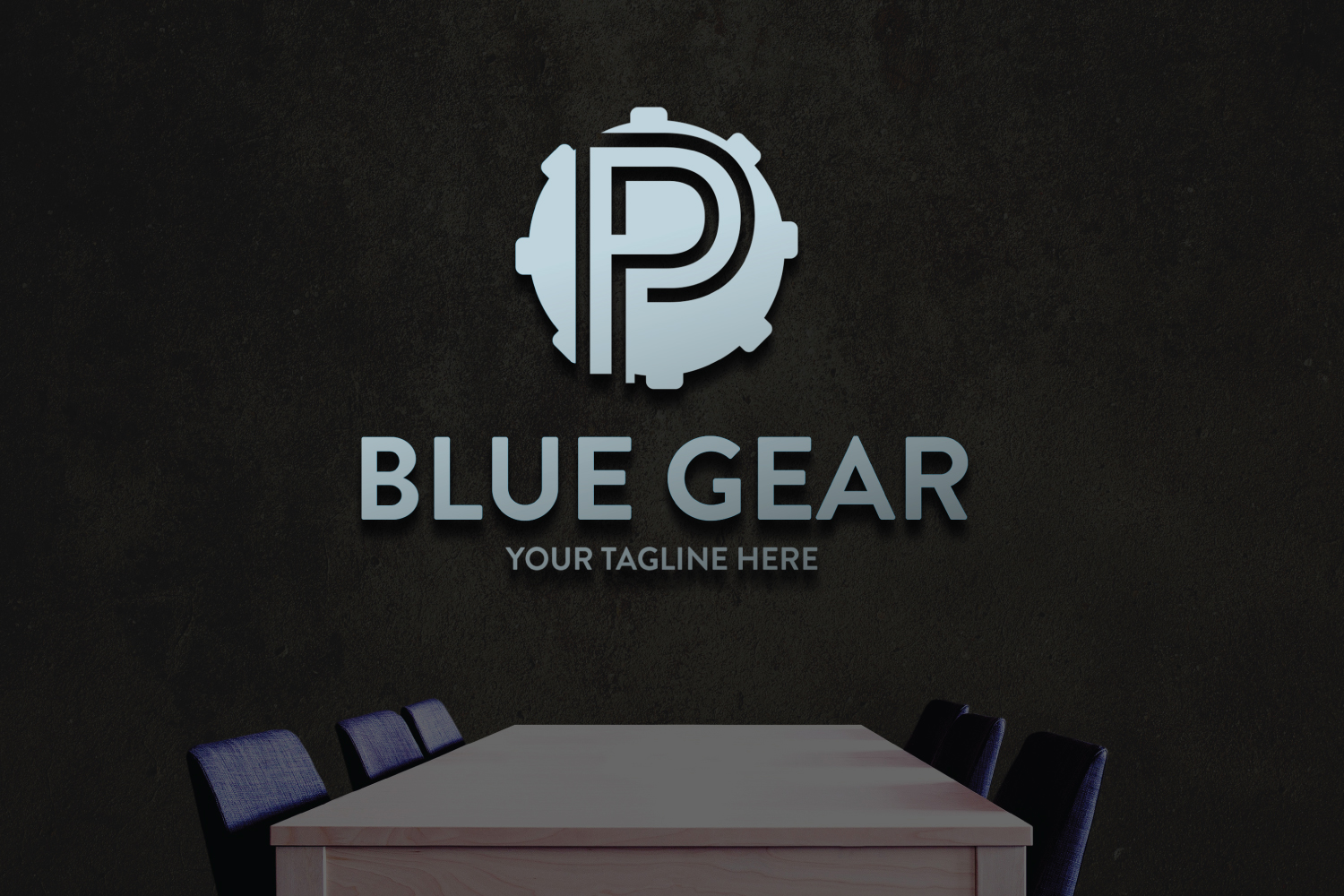 P letter Gear logo example image 3