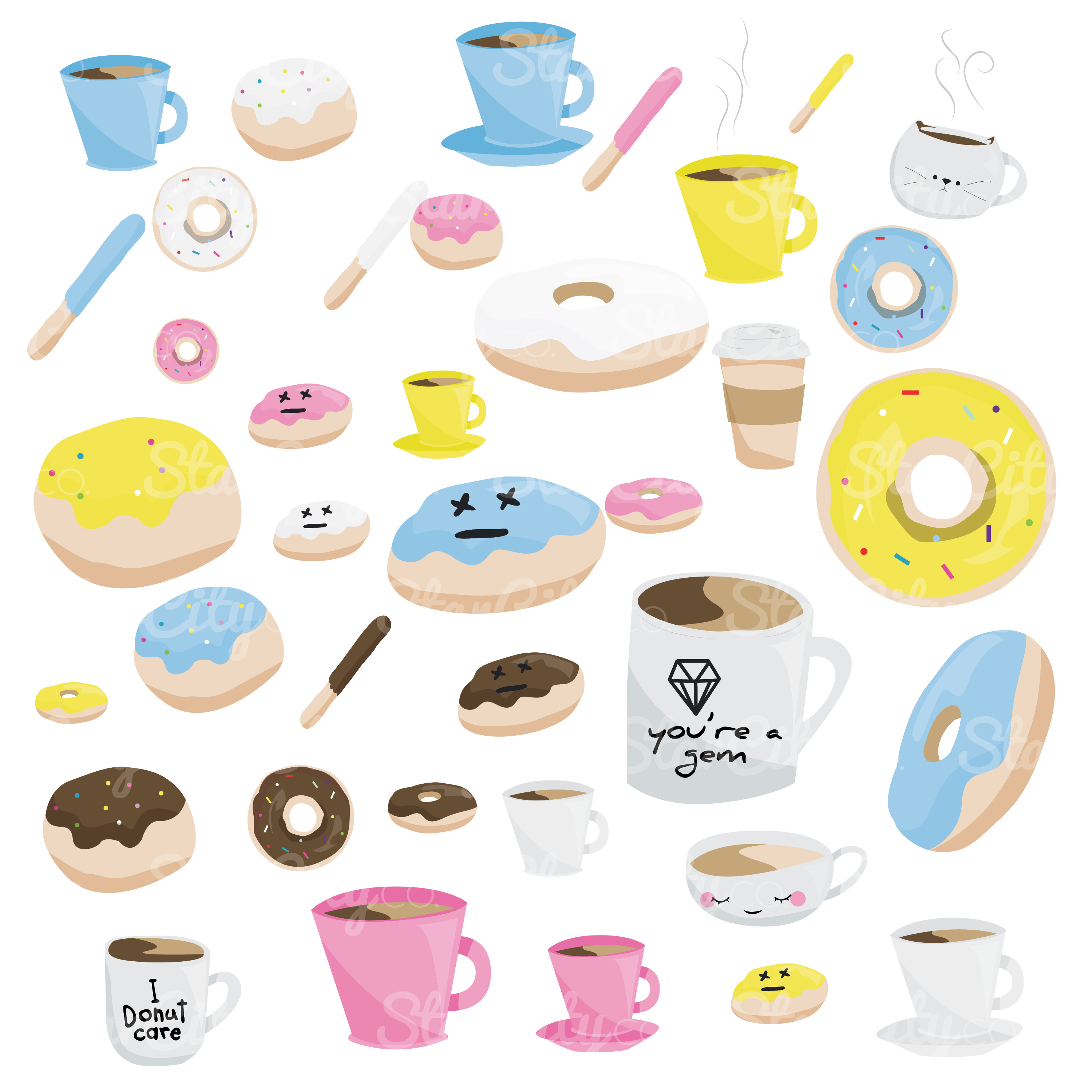 Coffee & Donut Clipart Graphics for commercial use example image 4