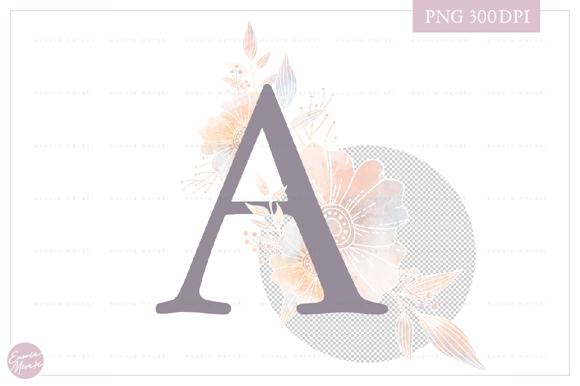 MONOGRAM Letter A Dusty Floral Monogram - Flower alphabet example image 2