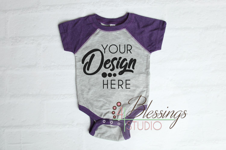 Raglan Bodysuit Mockup Blank Purple Gray Baby Rabbit Skins example image 1