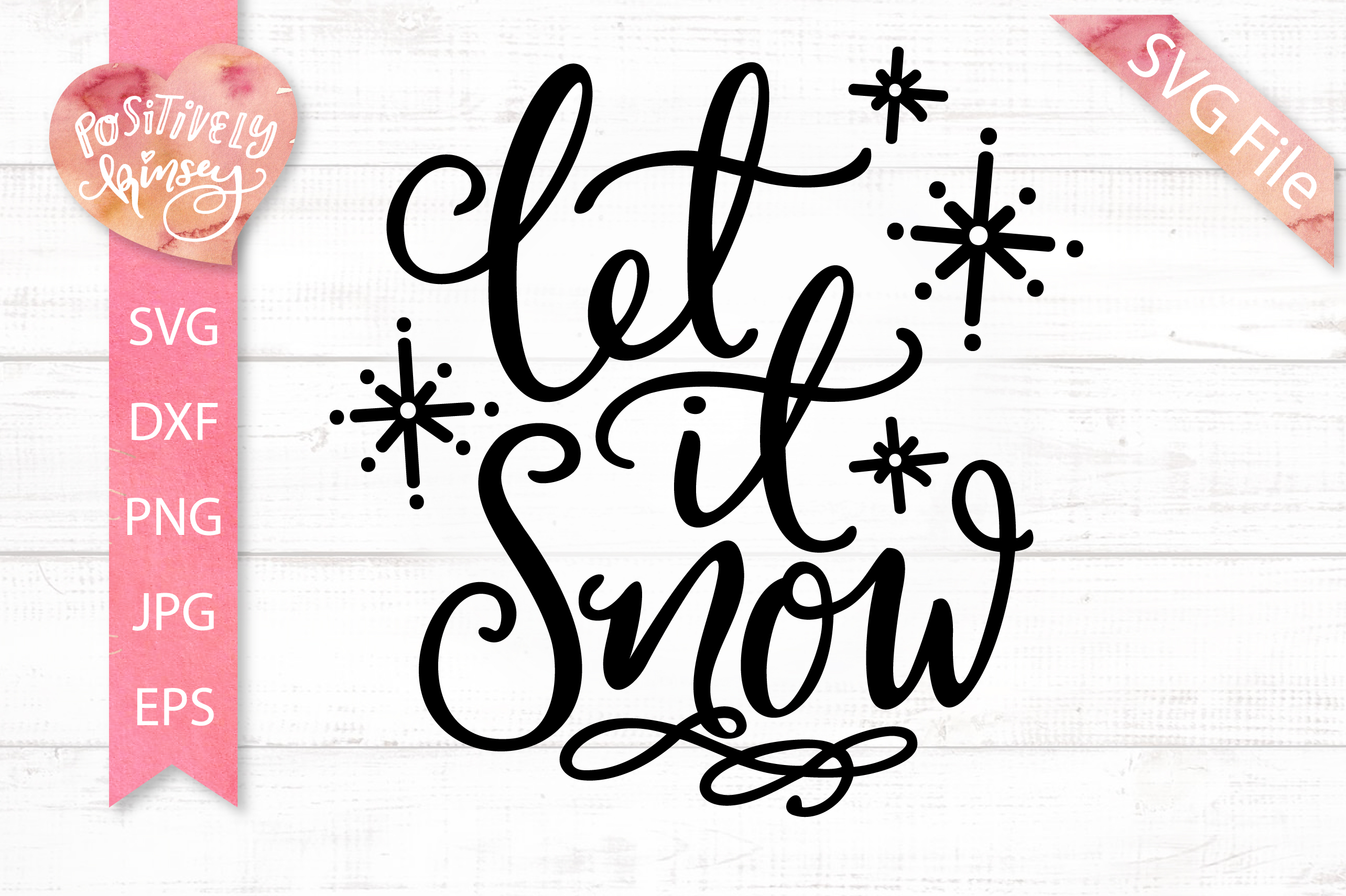 Let it Snow SVG Christmas Quote SVG DXF PNG EPS example image 5