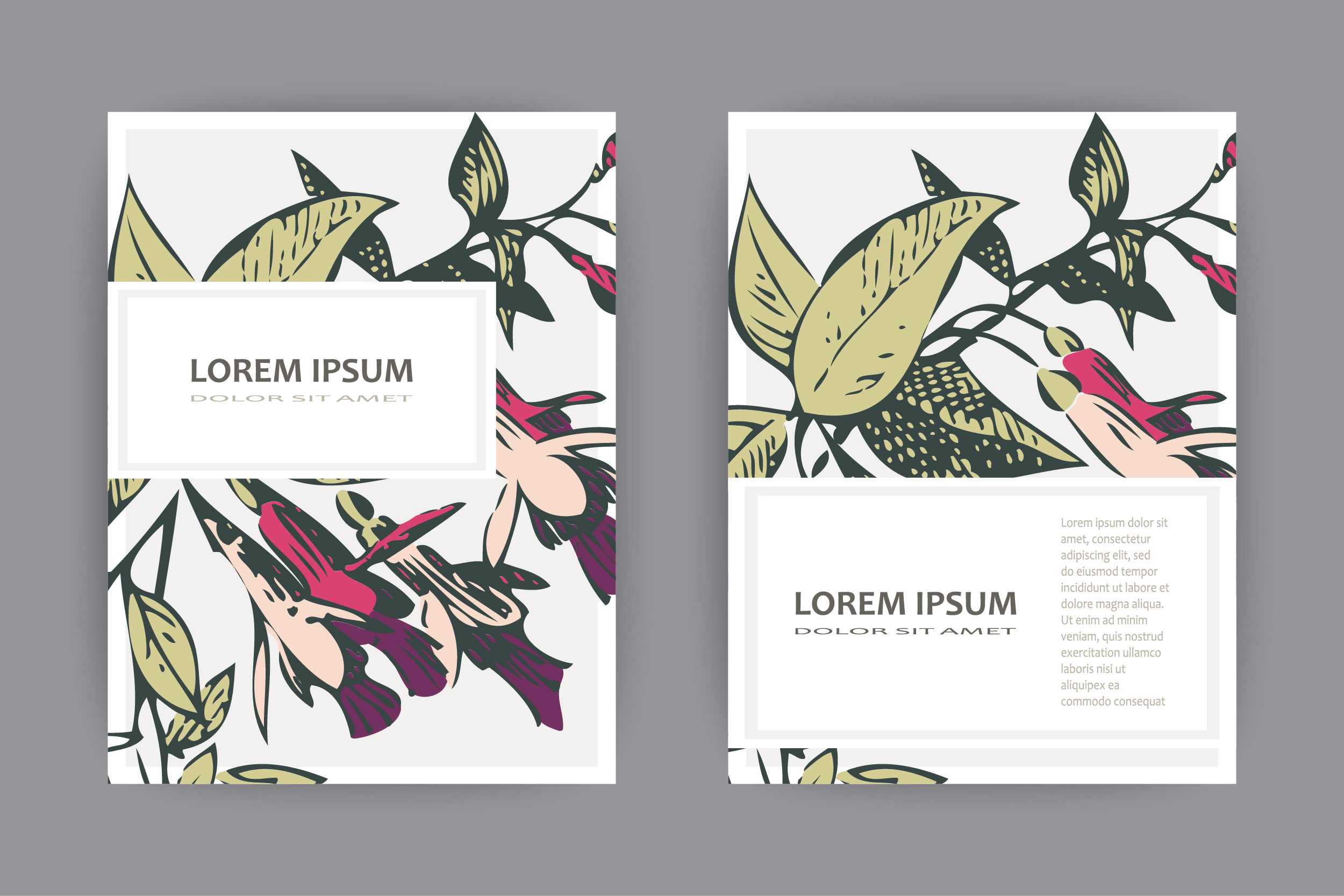 Fuchsia flower templates for card, invitation, wedding example image 1