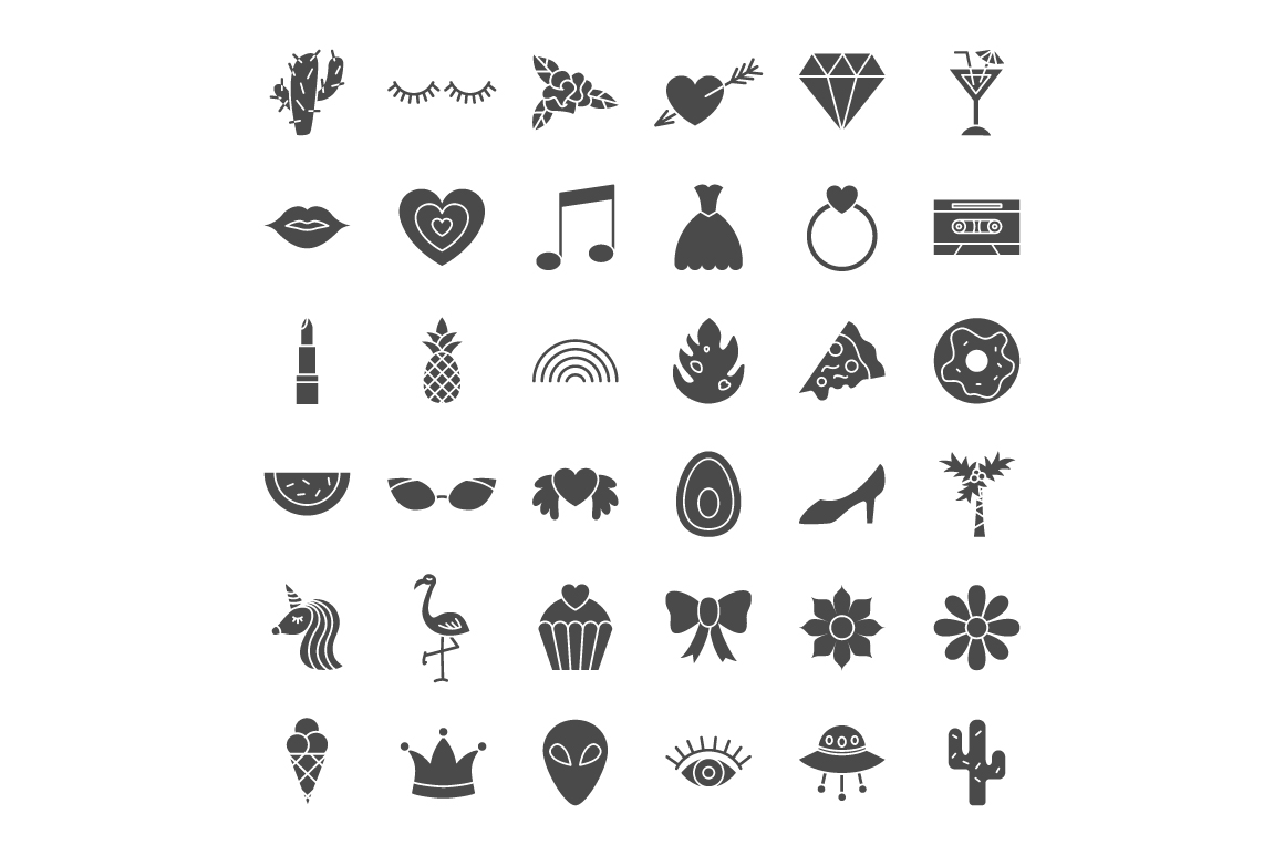 Girl Power Line Art Icons example image 4