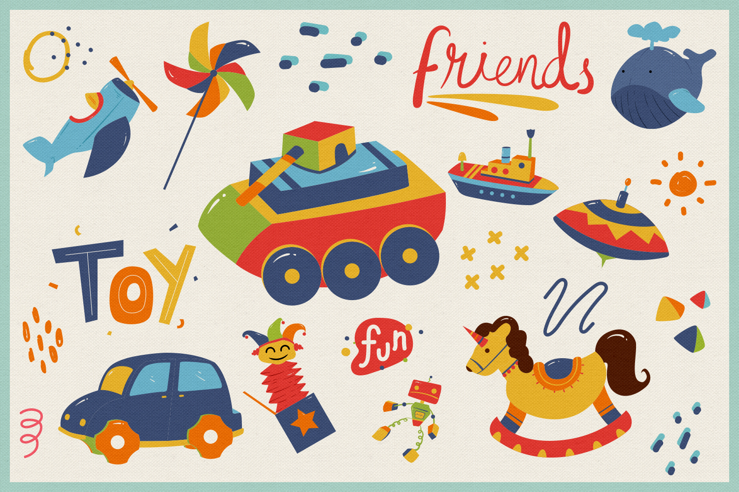 Kid's Toys Vector Cliparts & Seamless Patterns example image 6