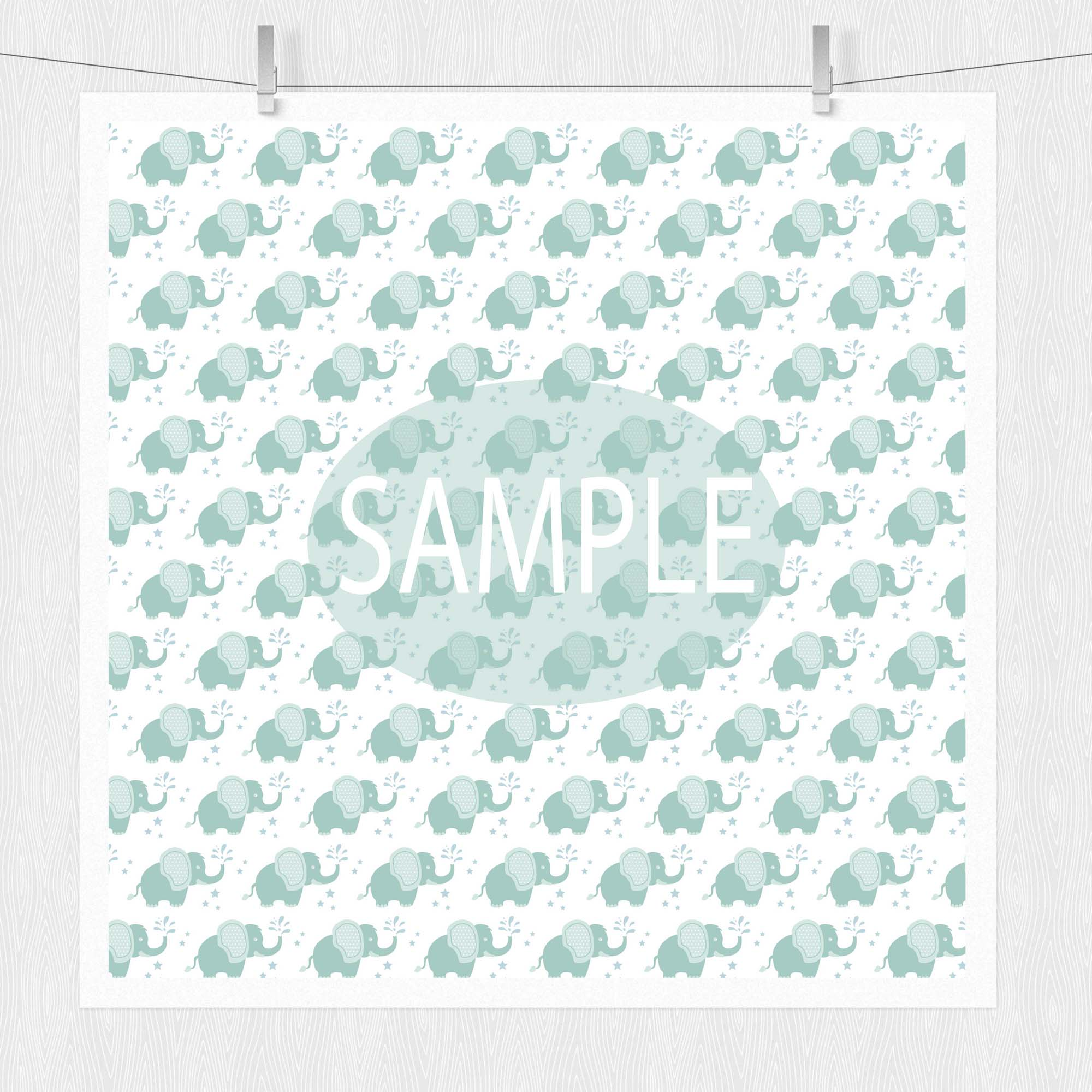 Baby Elephant Digital Paper Patterns - Green example image 4