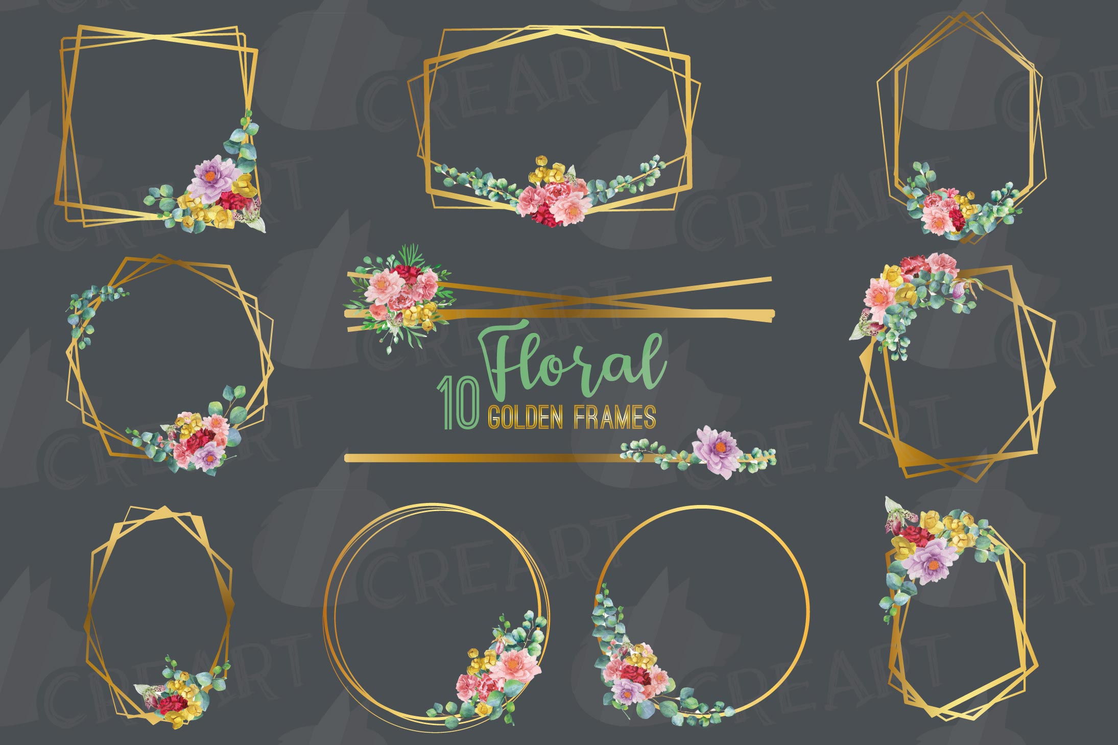 Watercolor floral golden frames and borders clip art pack example image 3