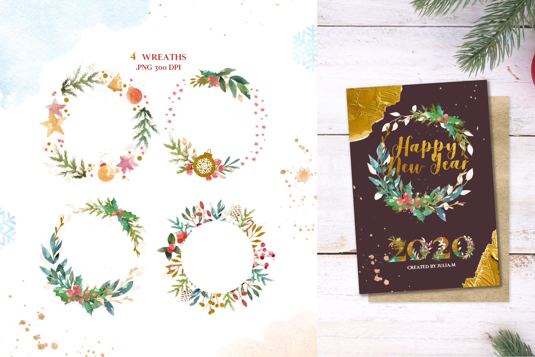 Merry Christmas Watercolor Design Set example image 9