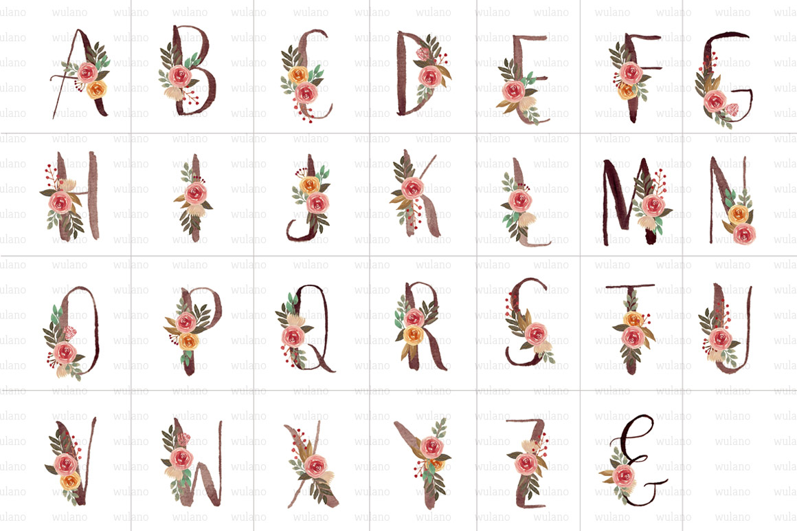 Floral Monogram Letters example image 2