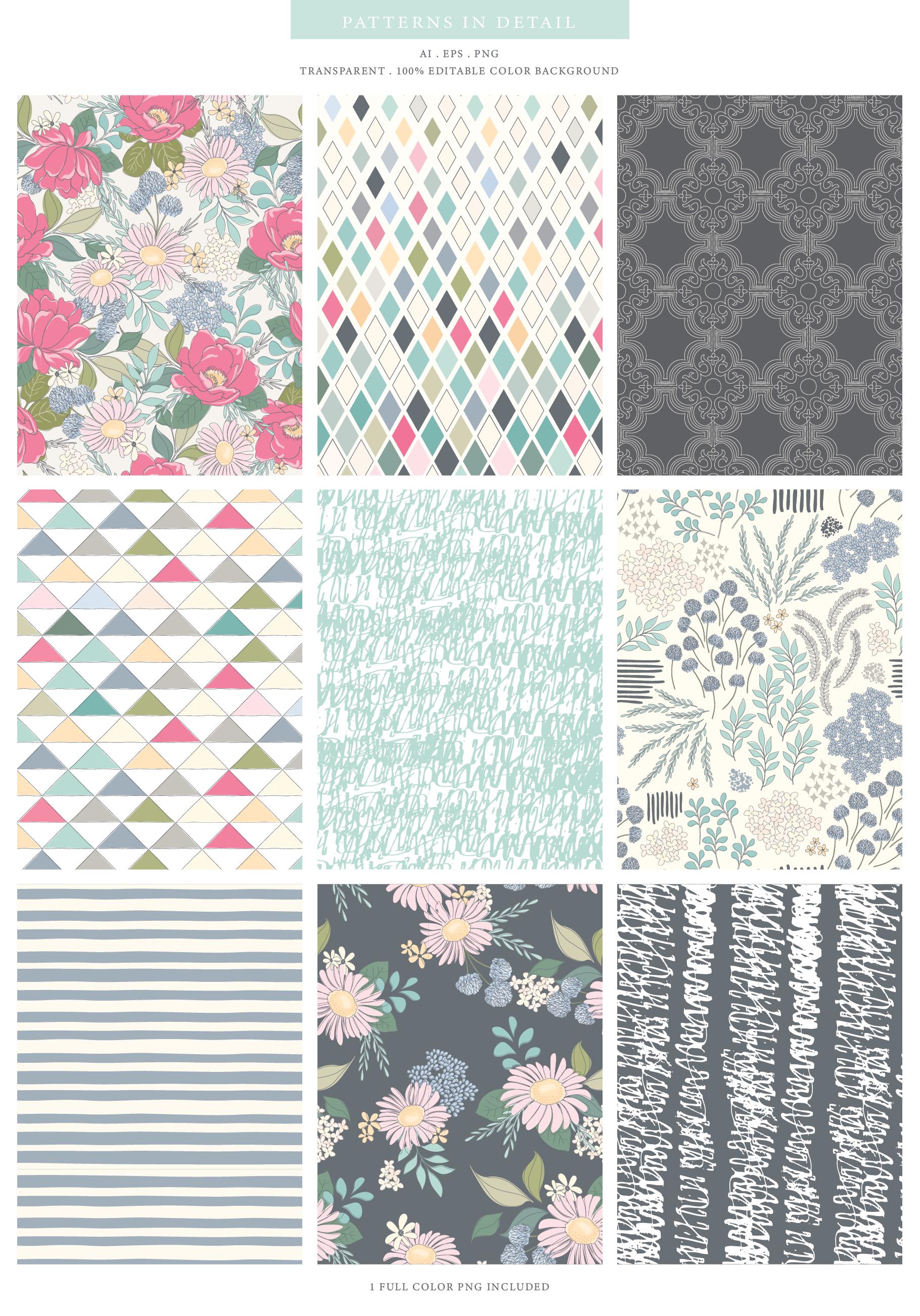 Floral Pattern Design Set example image 4