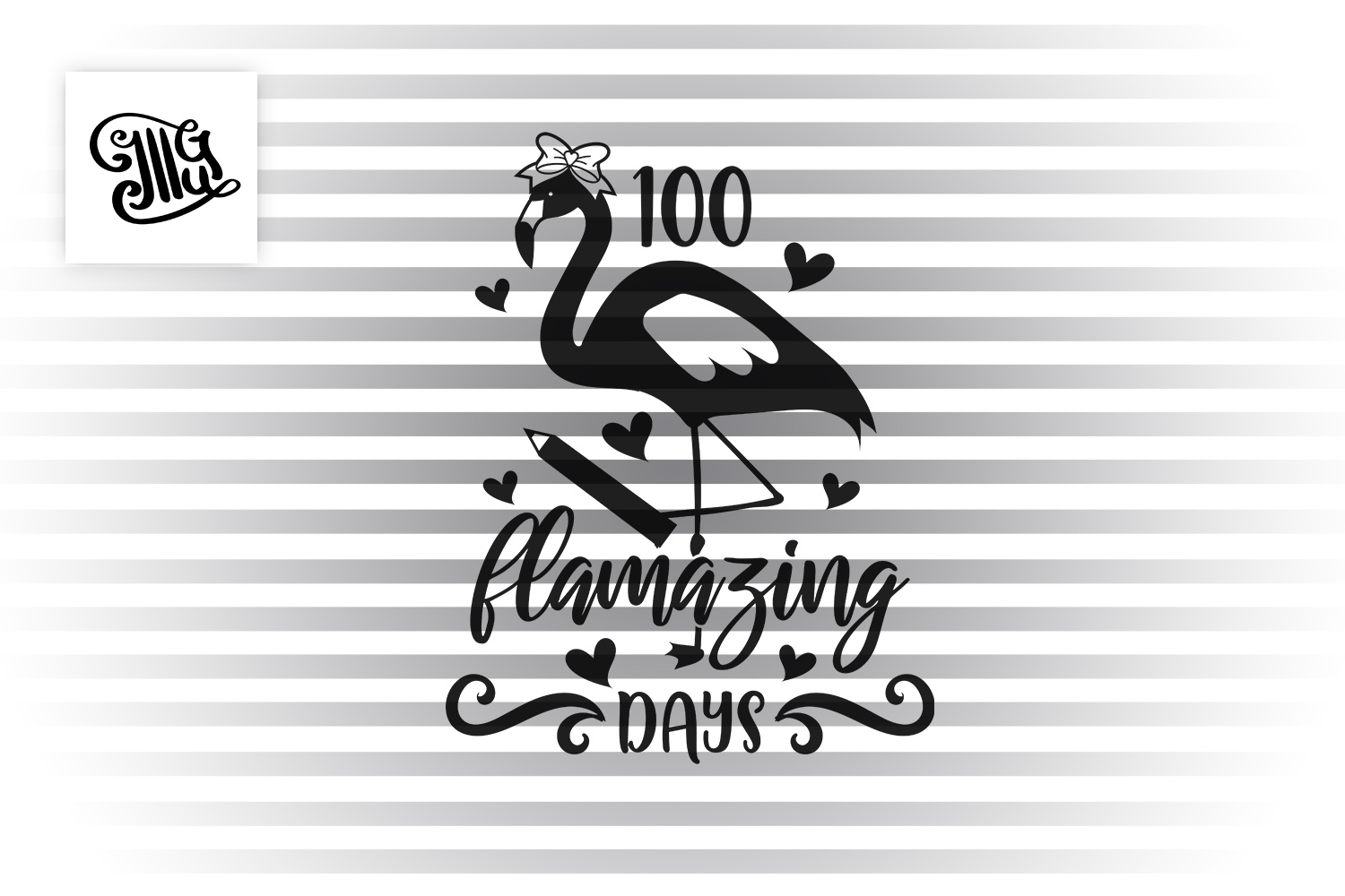 100 days of school for girl and teacher svg with flamingo example image 2