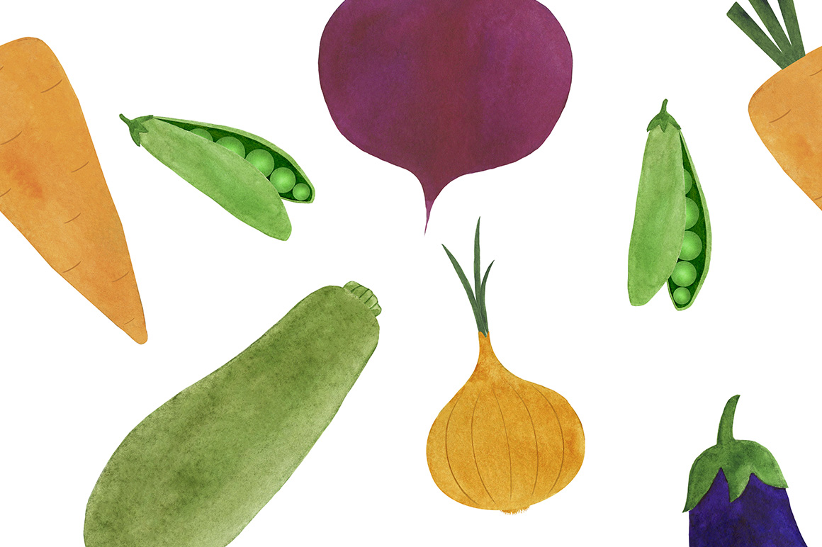 Watercolor vegetables collection example image 12