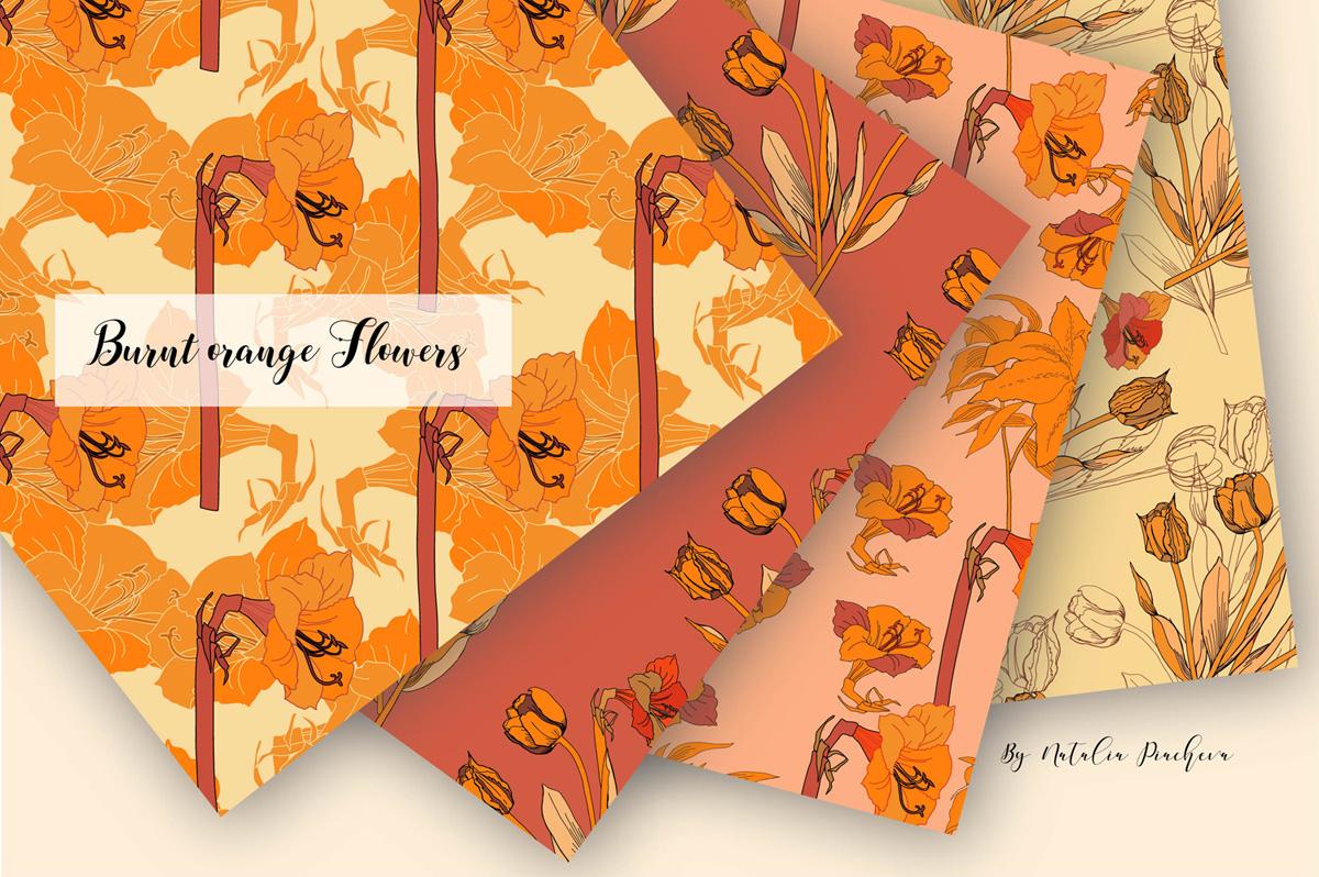 Digital Paper Burnt Orange Flowers example image 2