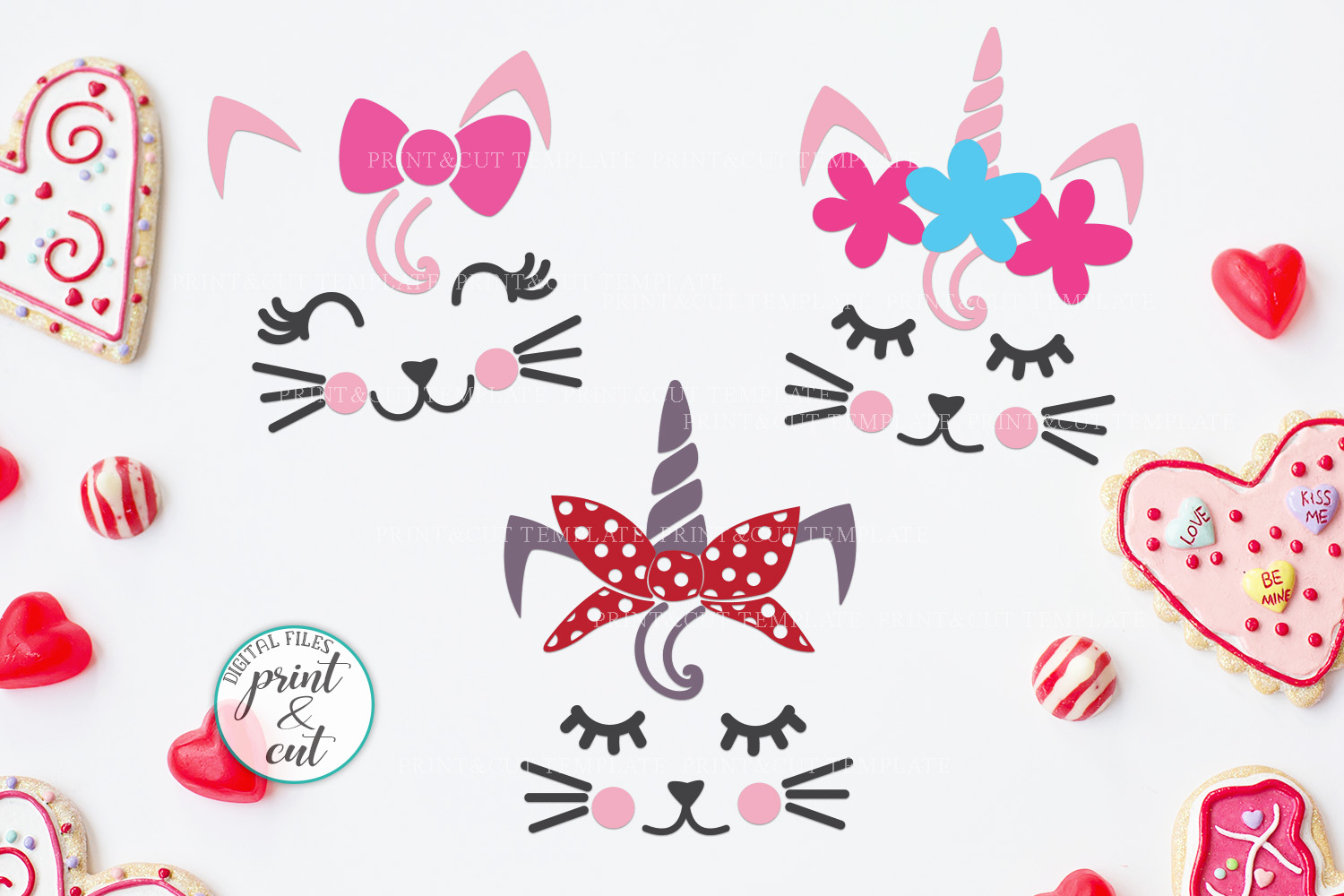 Cat Kitty face bundle with flowers hearts unicorn crown svg example image 7