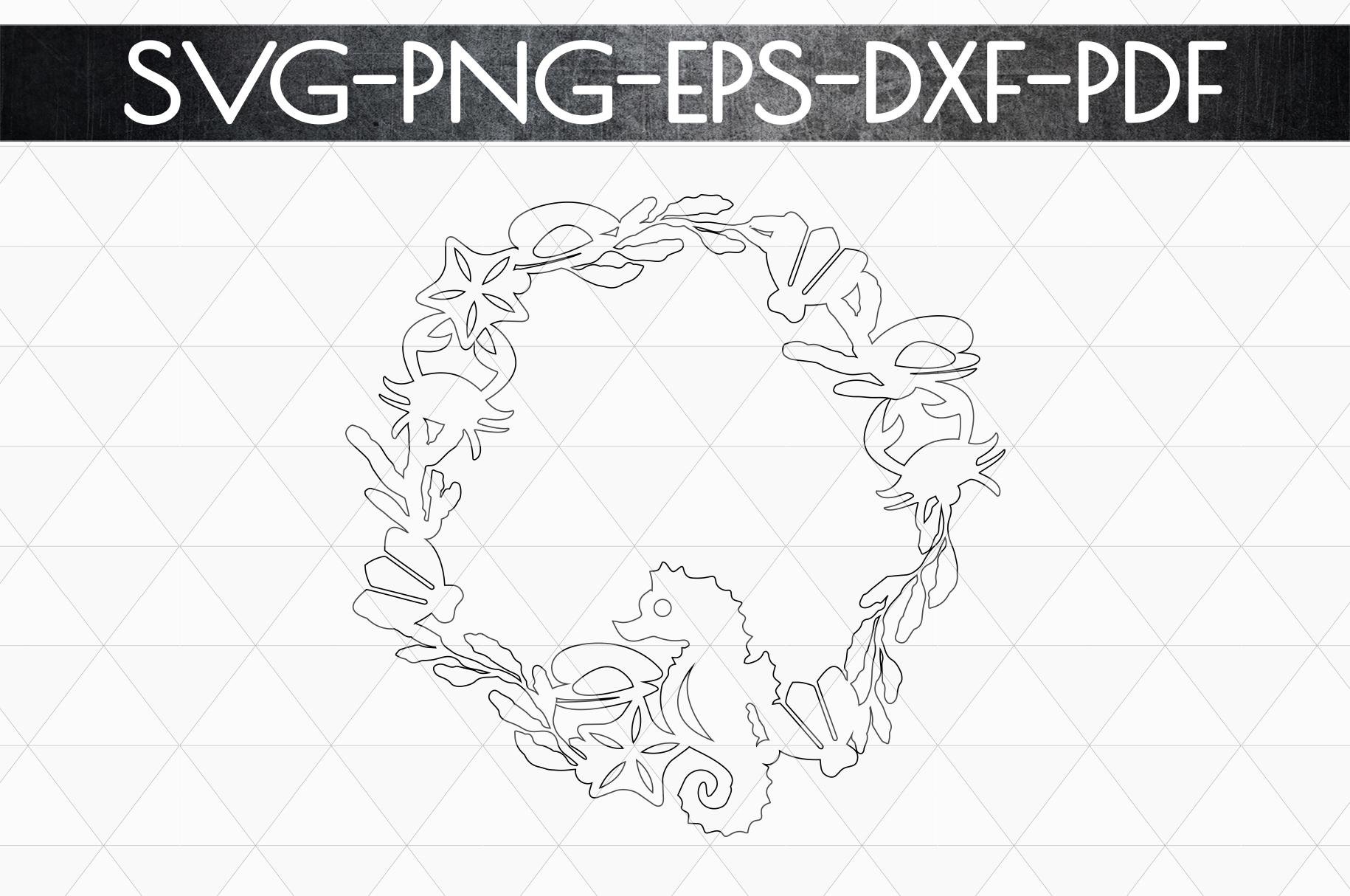 Summer Wreath Papercut Template, Beach House Decor SVG, DXF example image 5