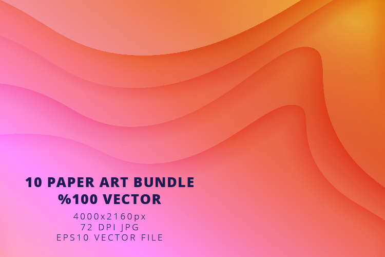 10 Paper Art Design Bundle - Backgrounds - Jpg and Vector example image 5