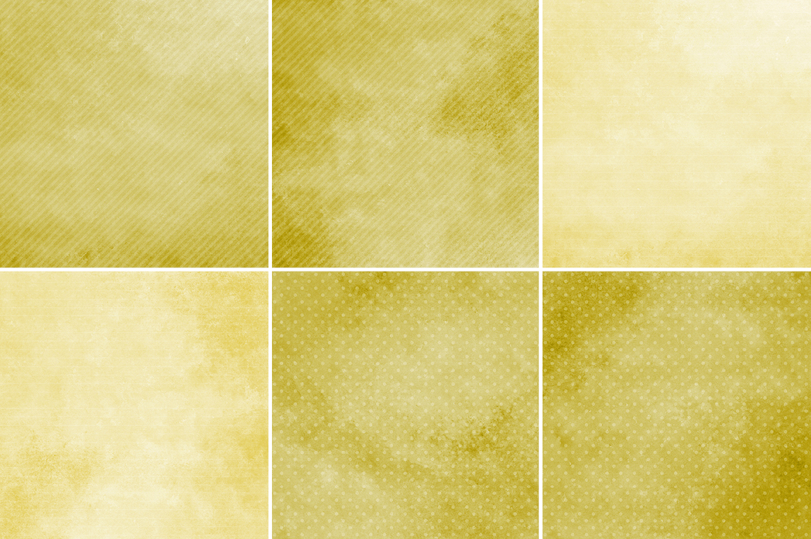 Watercolor Texture Backgrounds With Dots & Stripes - Yellow example image 3