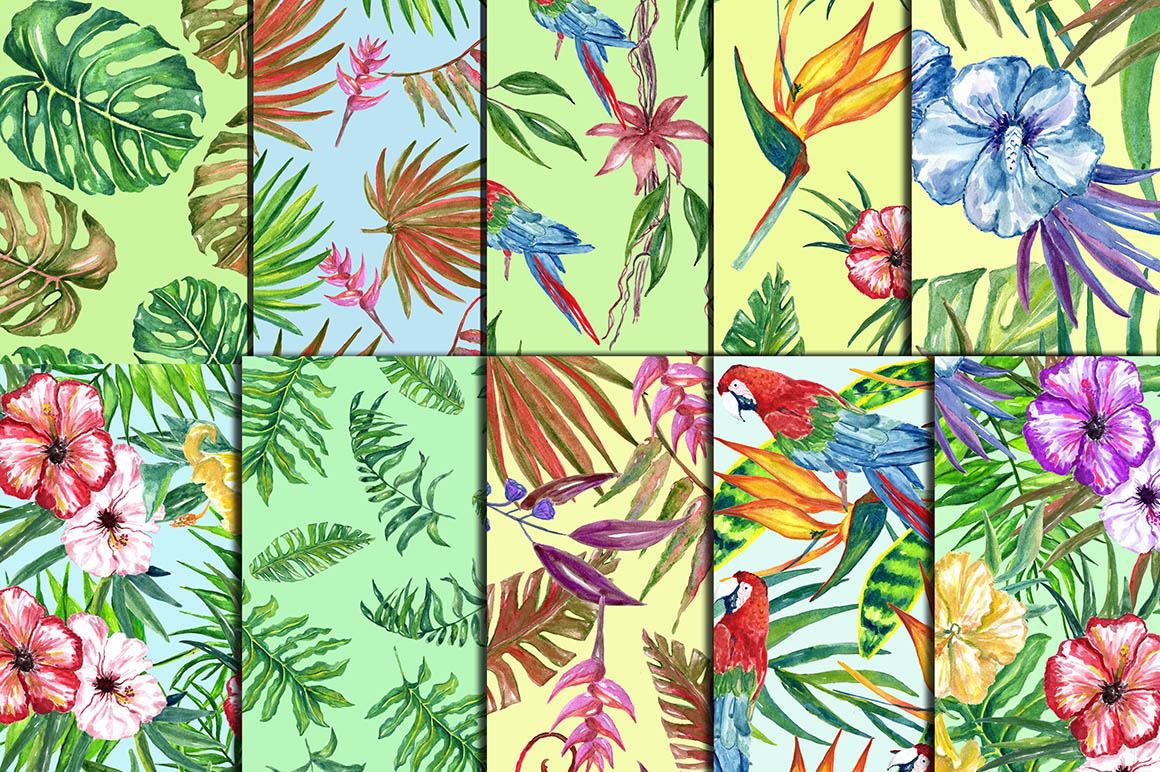 Watercolor Jungle clipart example image 4