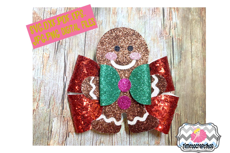 Holiday Christmas Hair Bow Template Bundle example image 3