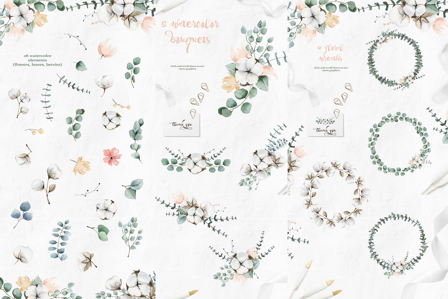 Cotton and Eucalyptus watercolor spring clipart example image 4