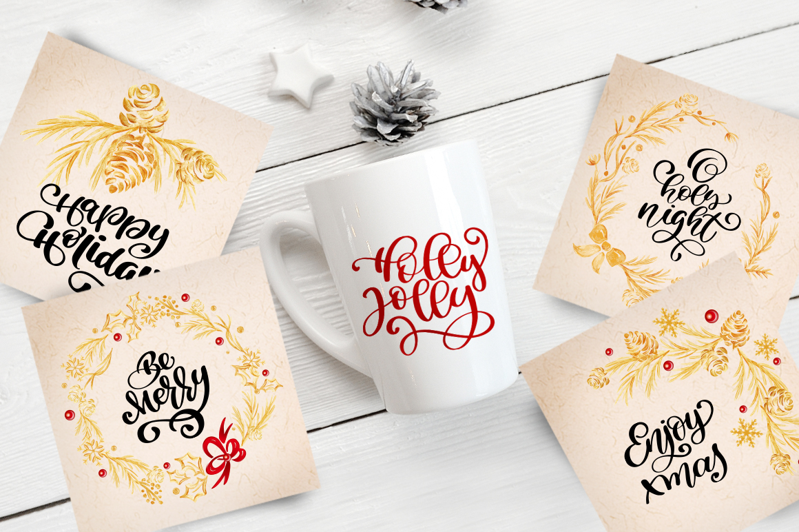Merry Christmas Hand Draw Lettering Objects example image 2