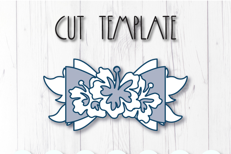 Wreath Hair bow template SVG, DIY leather bow template example image 2