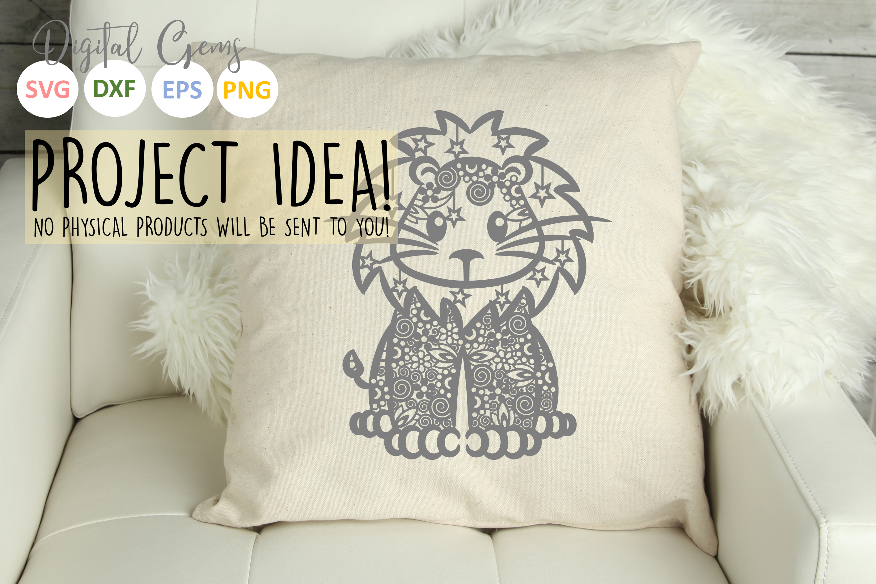 Lion paper cut SVG / DXF / EPS files example image 3