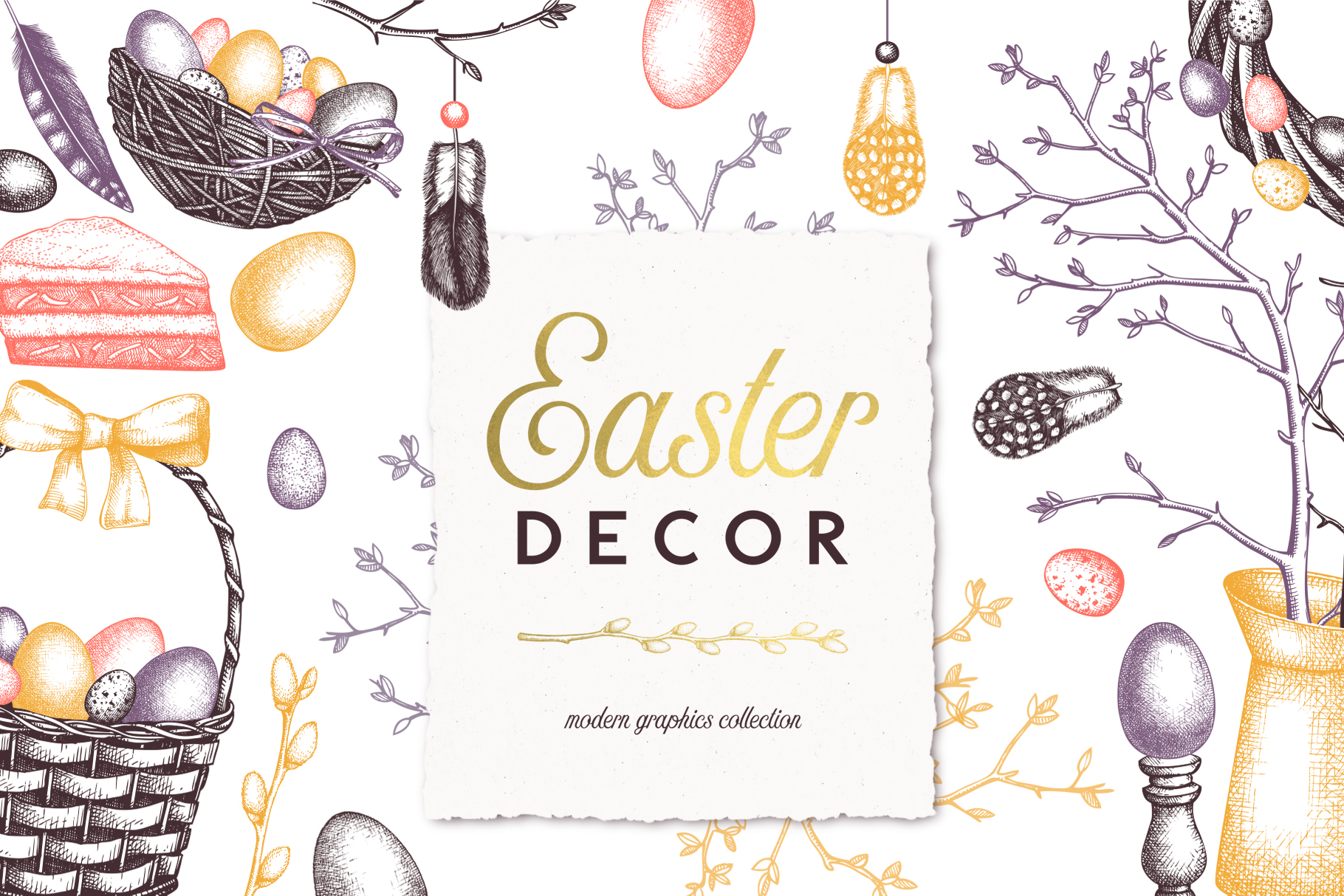 Hand Drawn Easter Design Elements example image 1